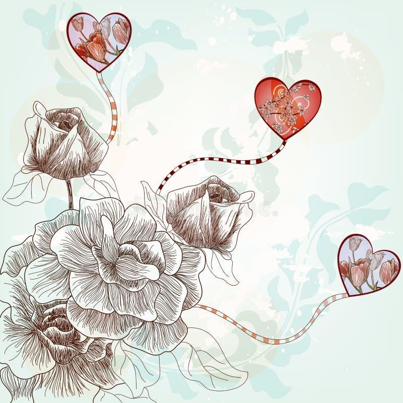Postal de la tarjeta del día de San Valentín de la fantasía ilustración del vector