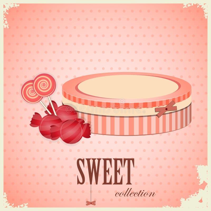 Postal de la vendimia - caramelo dulce en fondo rosado stock de ilustración