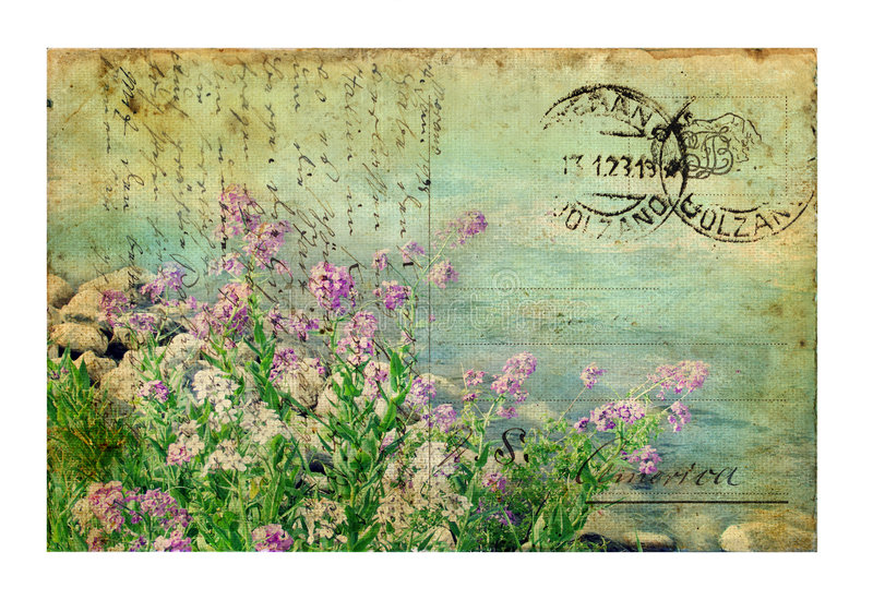 Postal de la vendimia con las flores imagen de archivo libre de regalías