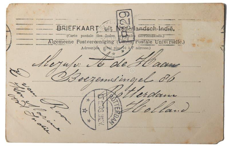 Postal de la vendimia de Indias del este holandesas foto de archivo