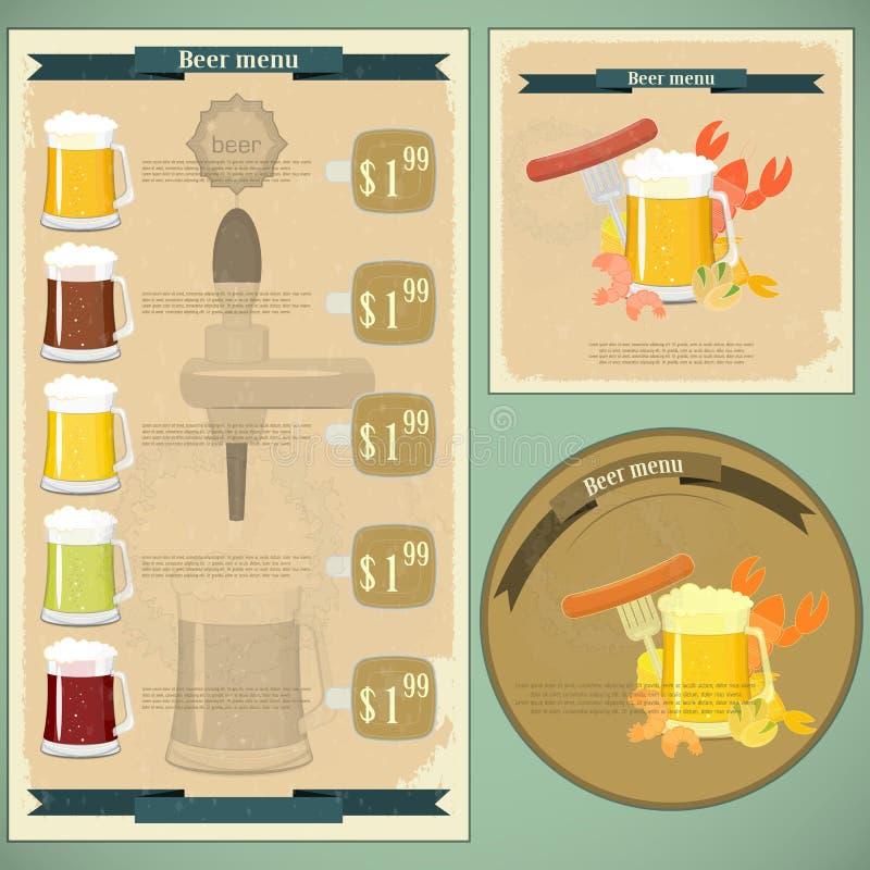 Postal de la vendimia, menú de la cubierta - cerveza, bocado de la cerveza libre illustration