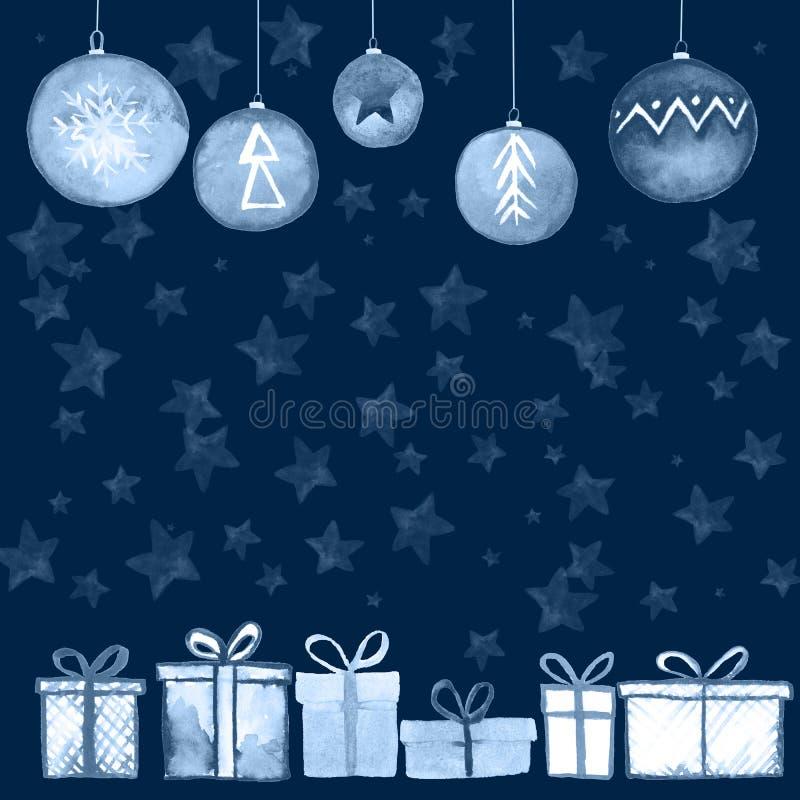 Postal de las bolas de los regalos de Navidad stock de ilustración
