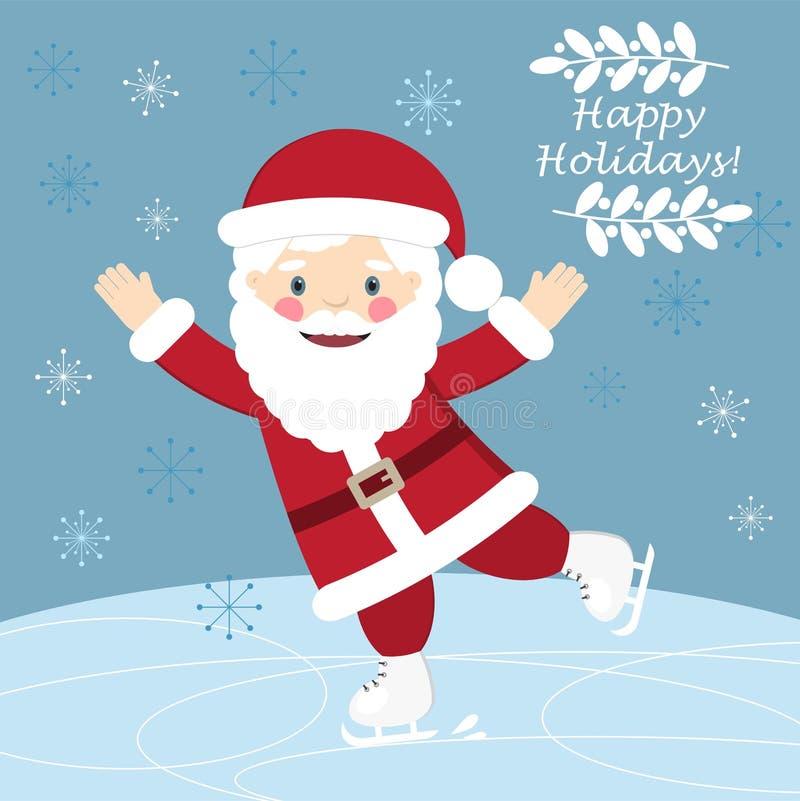 Postal de los hristmas del ¡de Ð con el patinaje divertido de Santa Claus stock de ilustración