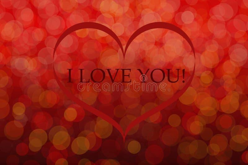 Postal de los saludos del día de tarjeta del día de San Valentín del St Día del ` s del amante Efectos de Bokeh libre illustration