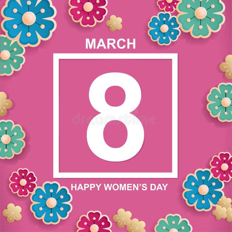 Postal 8 de marzo, día del ` s de la madre, con las flores Día feliz internacional del ` s de las mujeres stock de ilustración