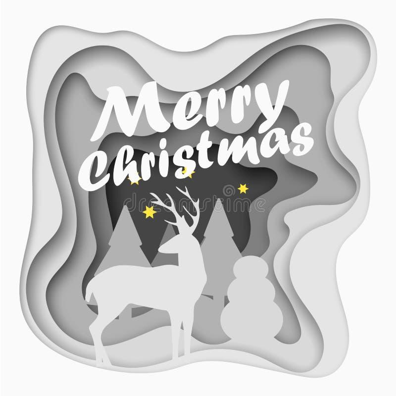 Postal de papel cortada acodada de la Feliz Navidad ilustración del vector