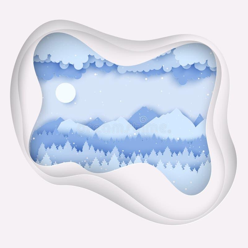 Postal de papel de la Navidad con paisaje del invierno Árboles de pino, montañas stock de ilustración
