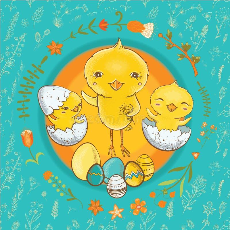 Postal de Pascua con los polluelos lindos libre illustration