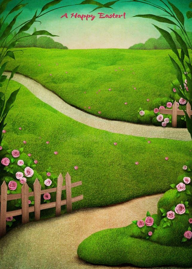Postal de Pascua de la primavera stock de ilustración