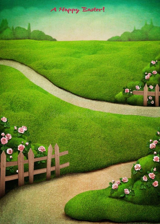 Postal de Pascua de la primavera ilustración del vector