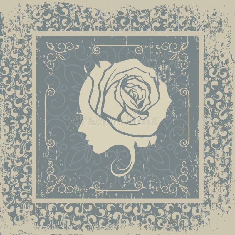 Postal decorativa del vintage del fondo de la mujer joven libre illustration