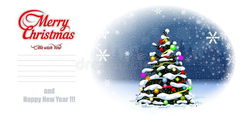 Postal del árbol de navidad r Acodado y editable stock de ilustración