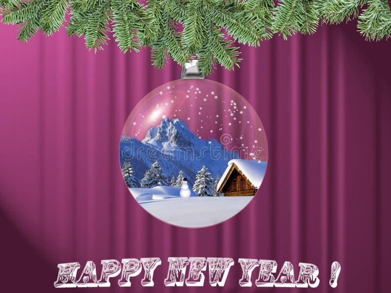 Postal del Año Nuevo stock de ilustración