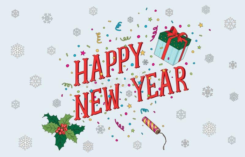 Postal 2017 del Año Nuevo y de la Navidad ilustración del vector