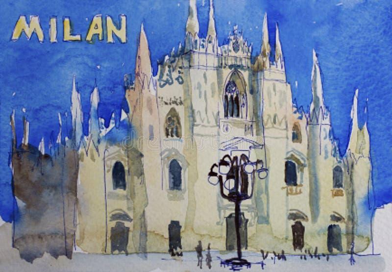 Postal del arte de la acuarela de Speedpaind de Milan Dome Duomo, Lombardi ilustración del vector