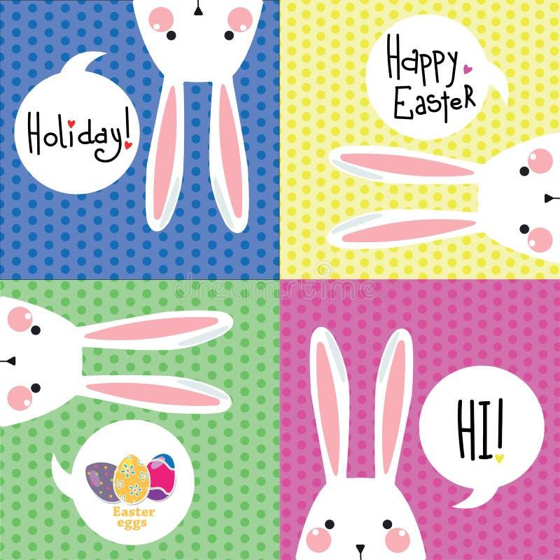 Postal del color con el conejo blanco de Pascua stock de ilustración