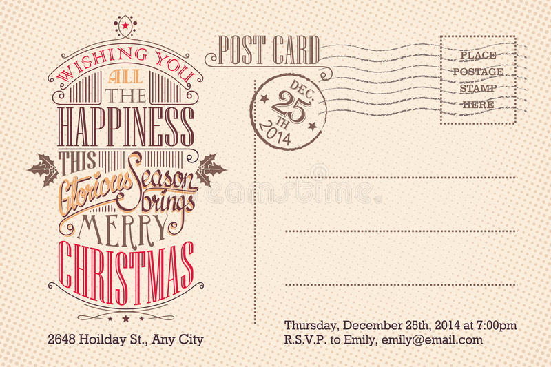 Postal del día de fiesta de la Feliz Navidad del vintage ilustración del vector
