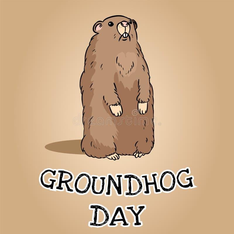 Postal del d?a de la marmota Imagen linda del groundhog de la historieta stock de ilustración
