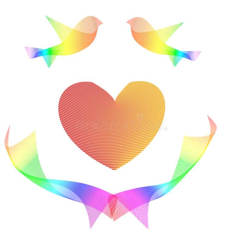 Postal del día de tarjeta del día de San Valentín con un par de pájaros y de corazón del amor ilustración del vector