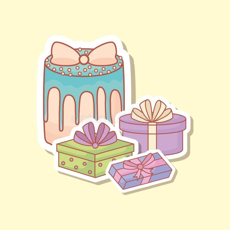 Postal del feliz cumpleaños con la torta y los regalos ilustración del vector