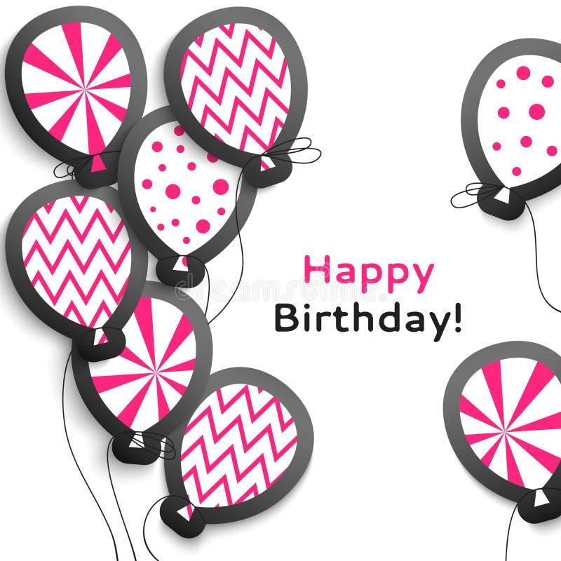 Postal del feliz cumpleaños con los globos stock de ilustración