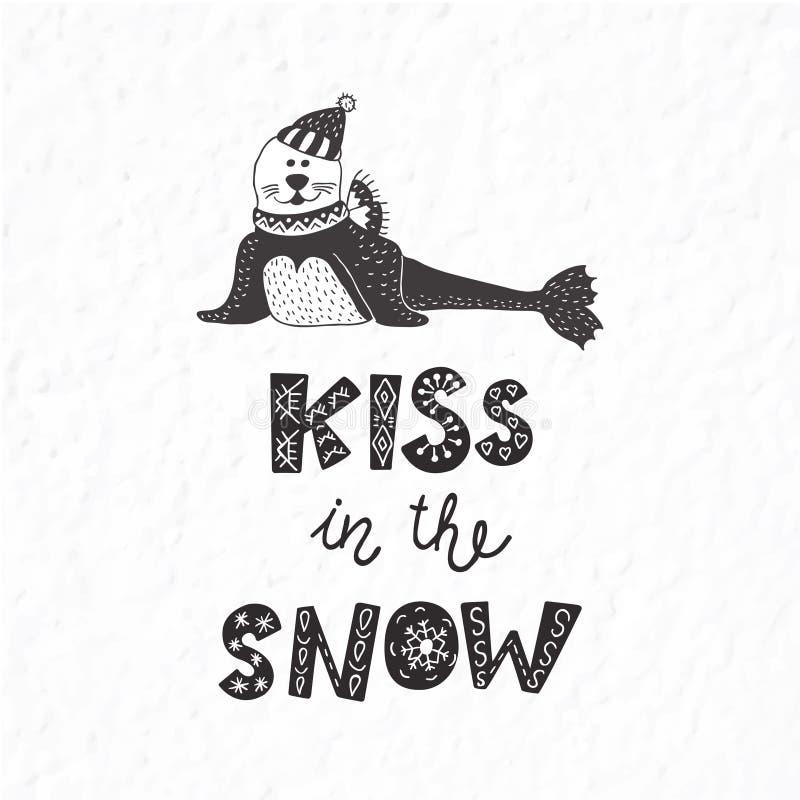Postal del invierno con cita y frase Sello divertido stock de ilustración