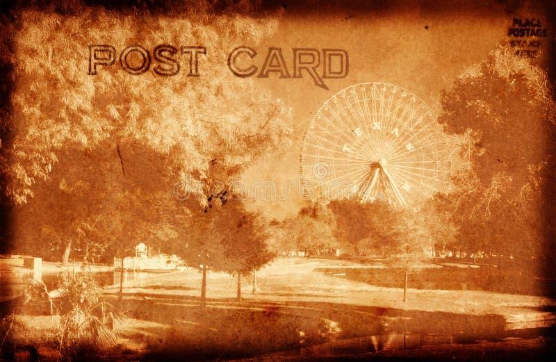 Postal del parque de atracciones imagen de archivo