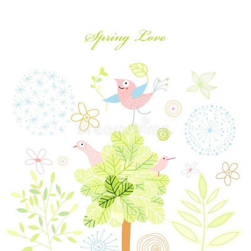 Postal del resorte con un árbol y los pájaros libre illustration