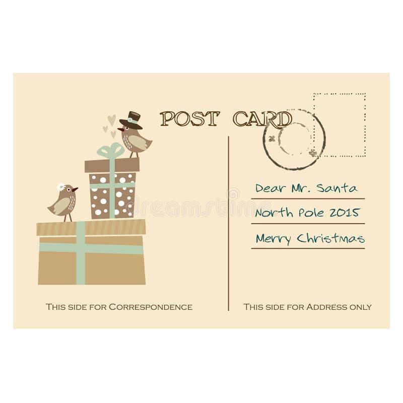 Postal del saludo de la Navidad del vintage con los pájaros, cajas de regalo ilustración del vector