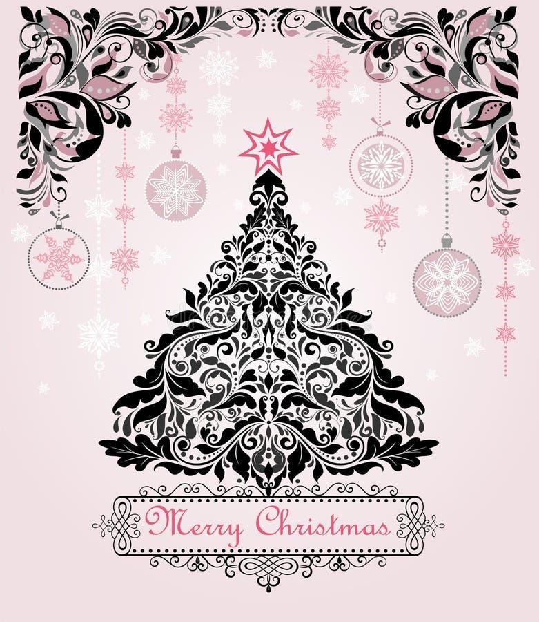 Postal del saludo de la Navidad del vintage con el árbol decorativo floral de Navidad y decoración de la ejecución con los copos  stock de ilustración