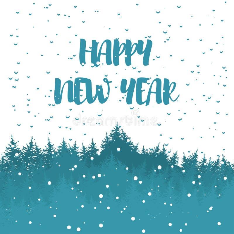 Postal del saludo del invierno con los deseos por una Feliz Año Nuevo Vector libre illustration
