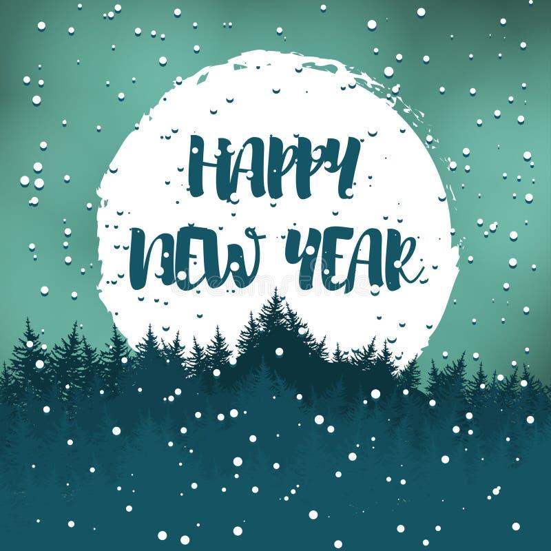 Postal del saludo del invierno con los deseos por una Feliz Año Nuevo Vector stock de ilustración