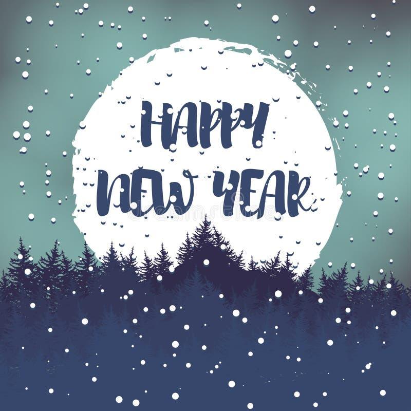 Postal del saludo del invierno con los deseos por una Feliz Año Nuevo Vector ilustración del vector
