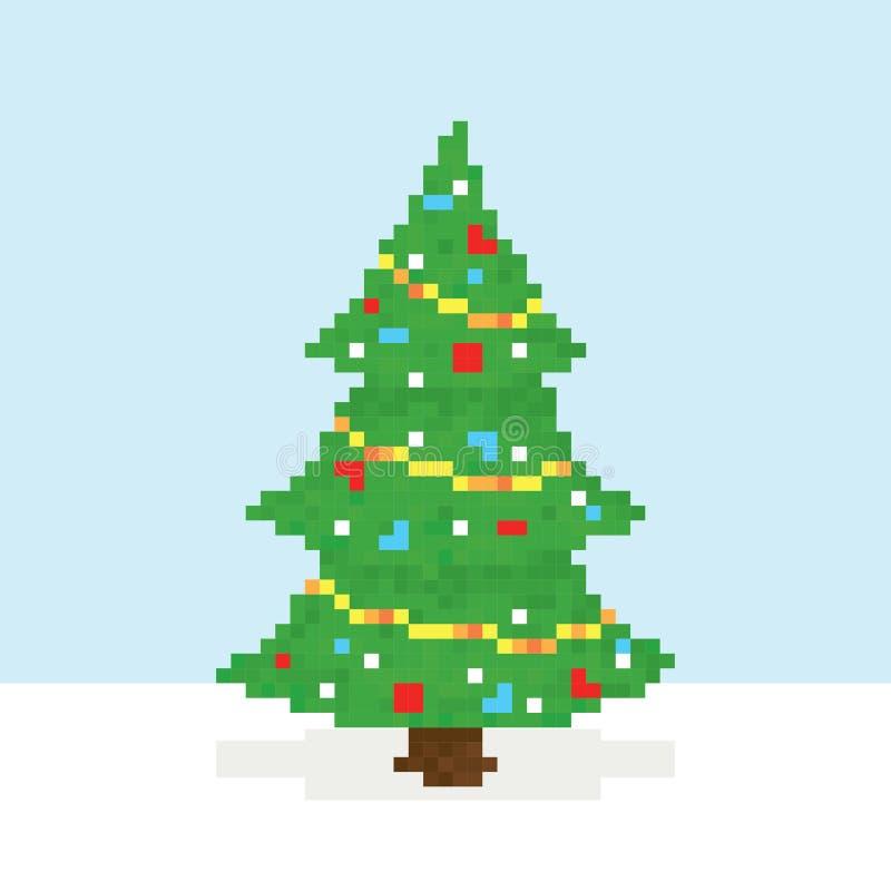 Postal del vector del árbol de navidad del arte del pixel ilustración del vector