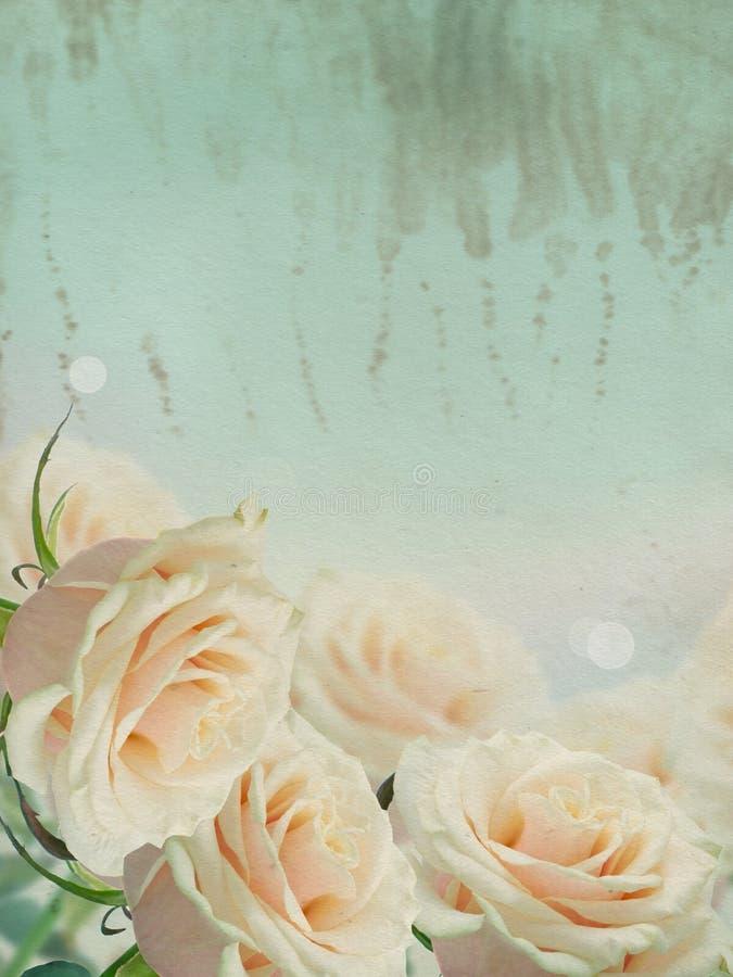 Postal del vintage con las flores elegantes imagen de archivo