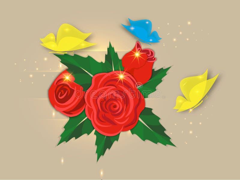 Postal del vintage con las rosas rojas y las mariposas coloridas con resplandor en un fondo marrón ilustración del vector