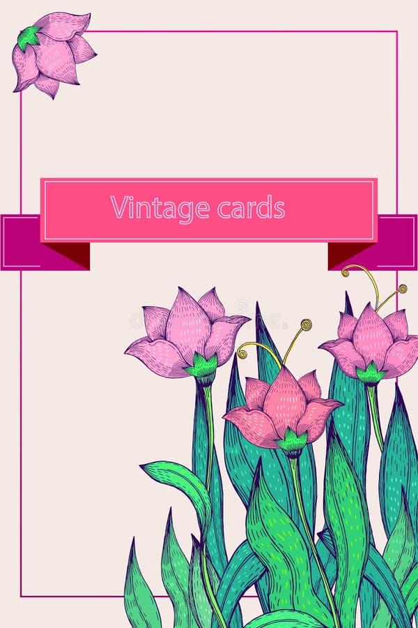 Postal del vintage, lirio rosado ilustración del vector