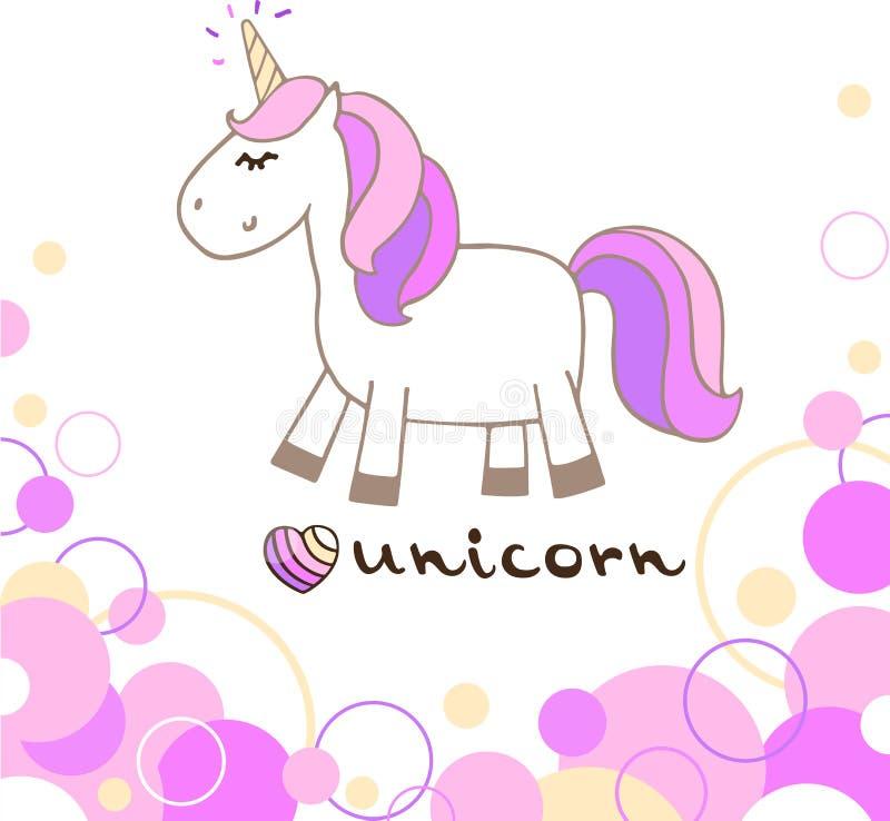 Postal dibujada mano linda del extracto del unicornio stock de ilustración