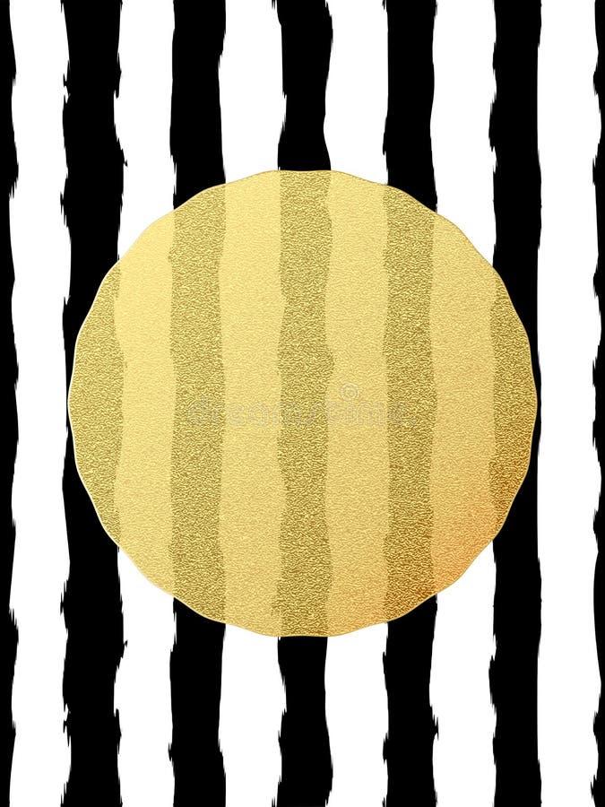 Postal elegante y de lujo con la tarjeta de felicitación de la hoja del brillo del oro Rayas negras, elemento de oro del círculo  ilustración del vector
