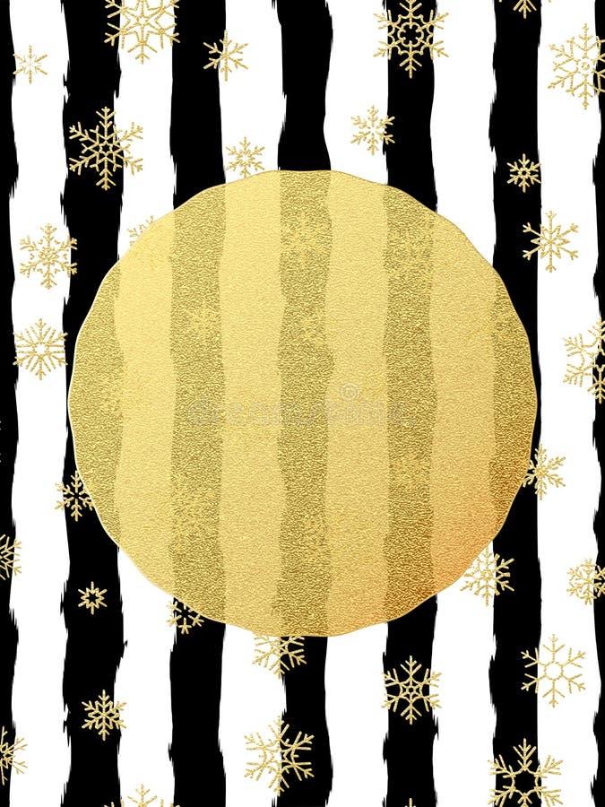 Postal elegante y de lujo de la Navidad con la tarjeta de felicitación de la hoja del brillo del oro Rayas negras, copos de nieve ilustración del vector