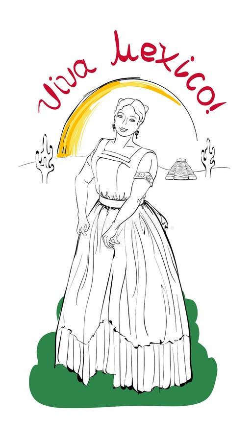 Postal en el día de la independencia de México libre illustration