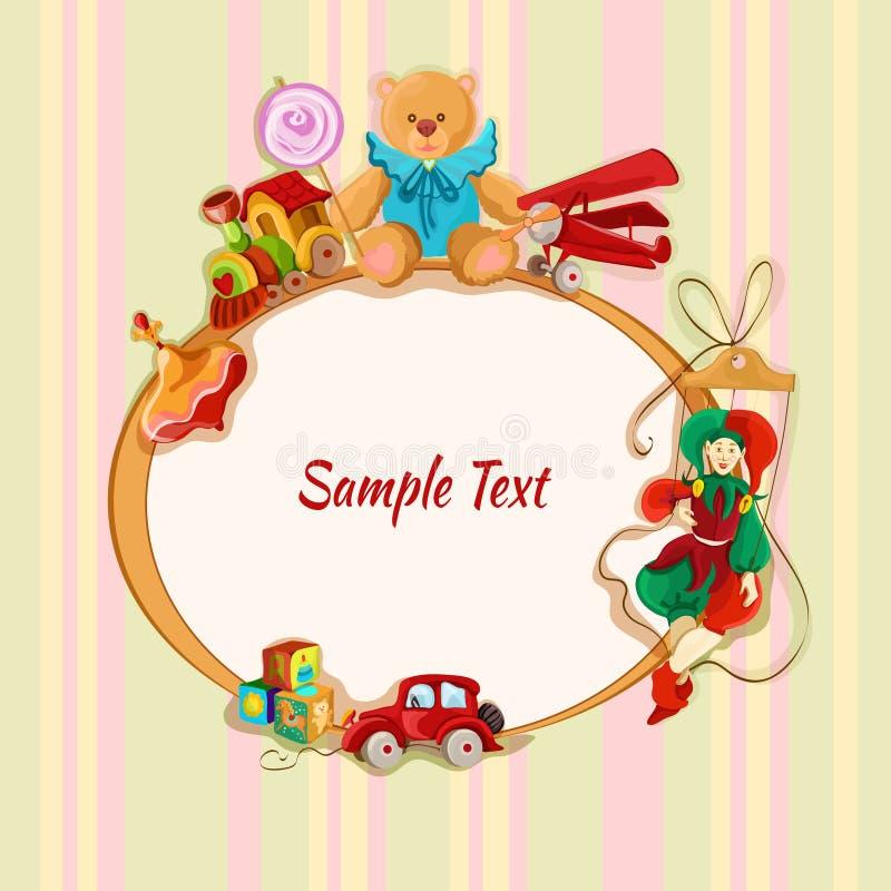 Postal enmarcada dibujada coloreada juguetes stock de ilustración