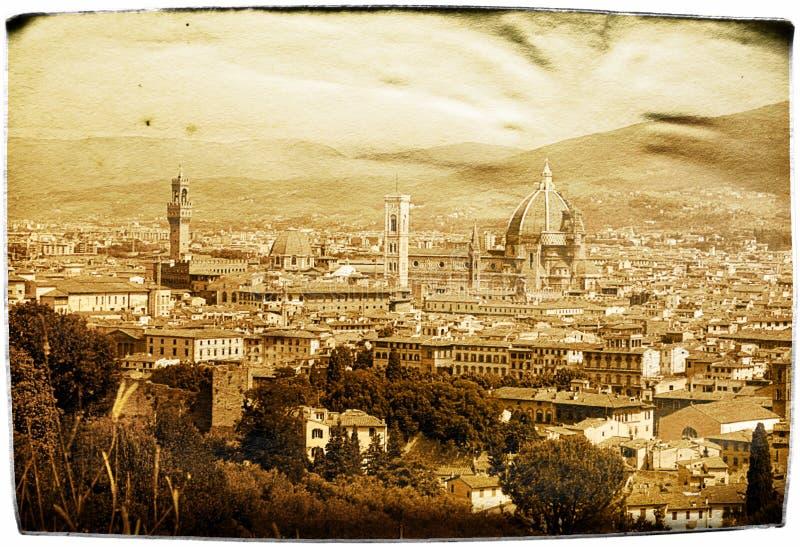 Postal envejecida Florencia imagenes de archivo