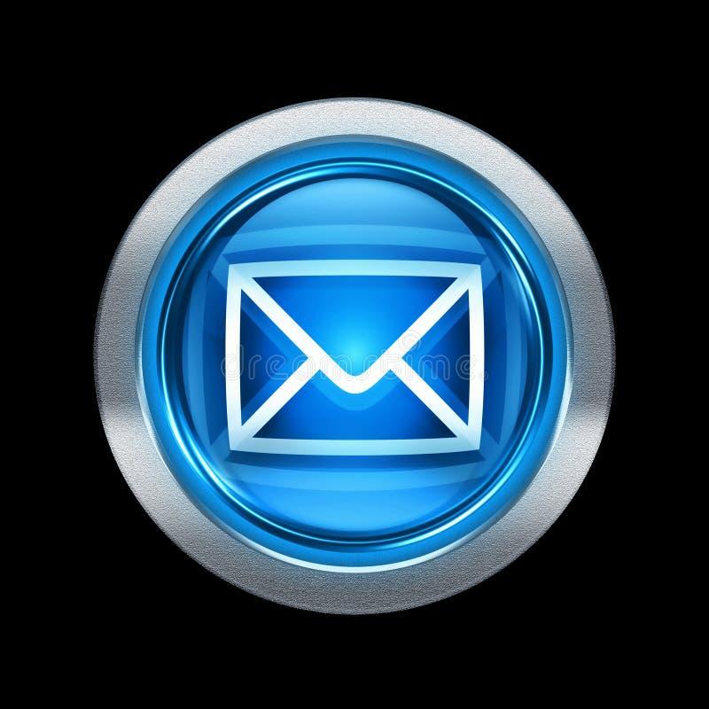 Postal envelope icon blue with metallic edging. Isolated on black background stock illustration