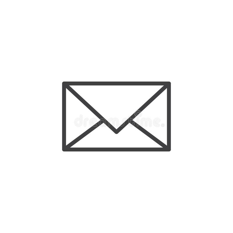 Postal envelope outline icon stock illustration