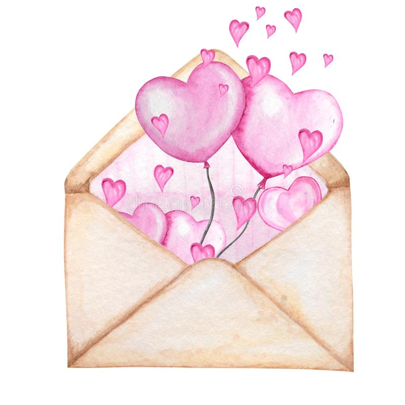 Postal envelope for Valentine day with Hearts Flying Away. Greeting card concept. Pink stripe inside, beautiful romantic royalty free stock images