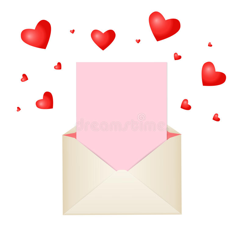 Free Postal Envelope With Piece Of Paper And Red Hearts For Greeting With Valentine Day Or For Your Wedding Invitations Stock Image - 65835071