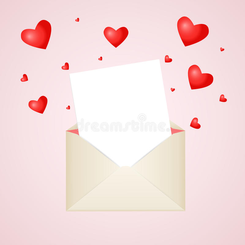 Free Postal Envelope With Piece Of Paper And Red Hearts For Greeting With Valentine Day Or For Your Wedding Invitations Royalty Free Stock Photos - 65835108