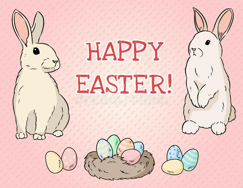 Postal feliz de pascua Dos conejos de pascua y huevos de Pascua libre illustration