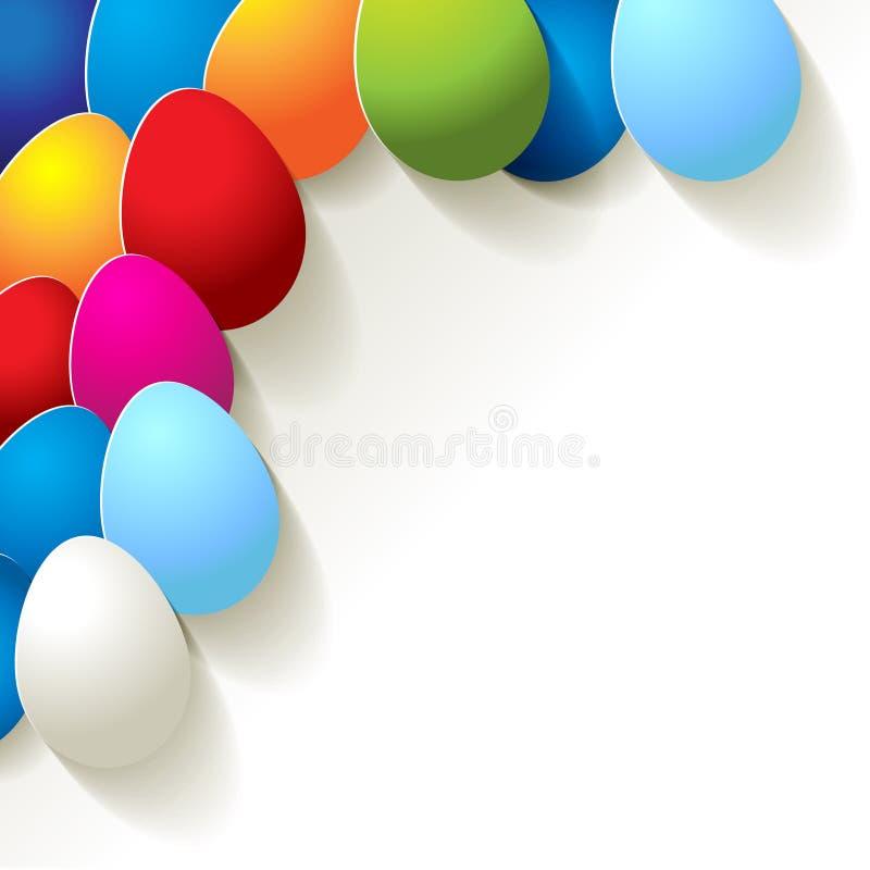 Postal feliz de pascua Huevos coloridos en la esquina ilustración del vector
